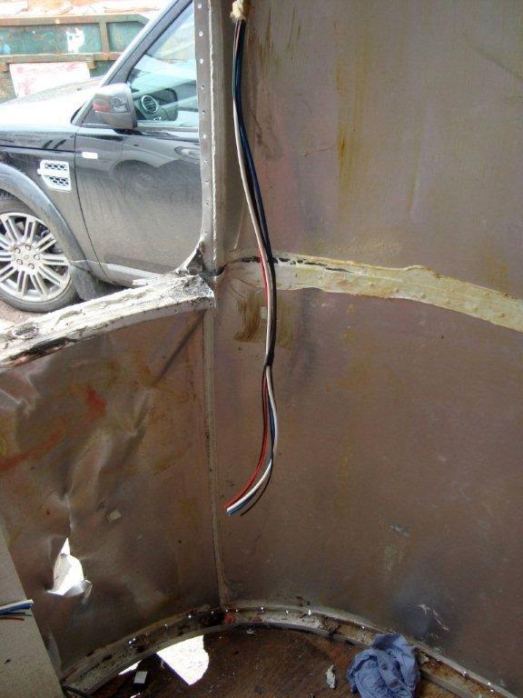 Damaged Airstream window frames