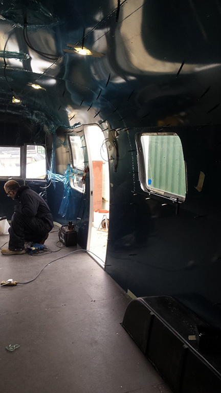 Midnight blue Airstream Interior