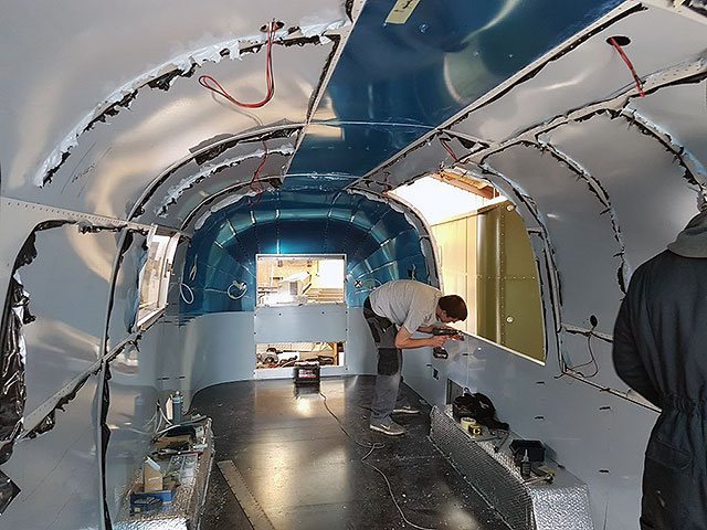Airstream bar interior aluminium being fitted