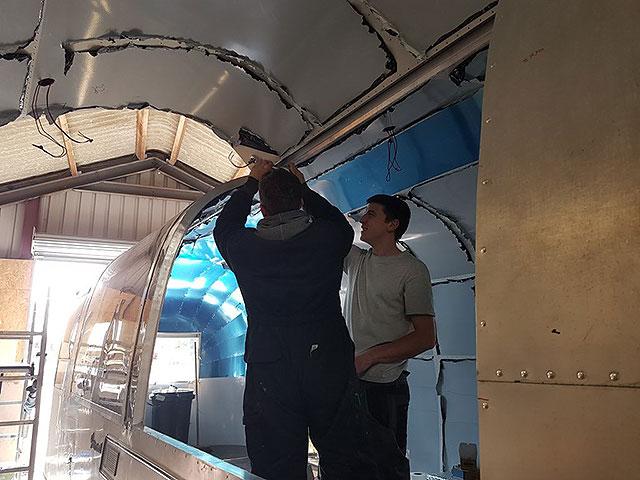 Airstream bar interior aluminium being fitted