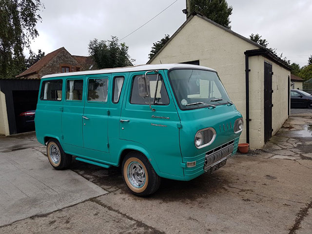 Turquoise camper