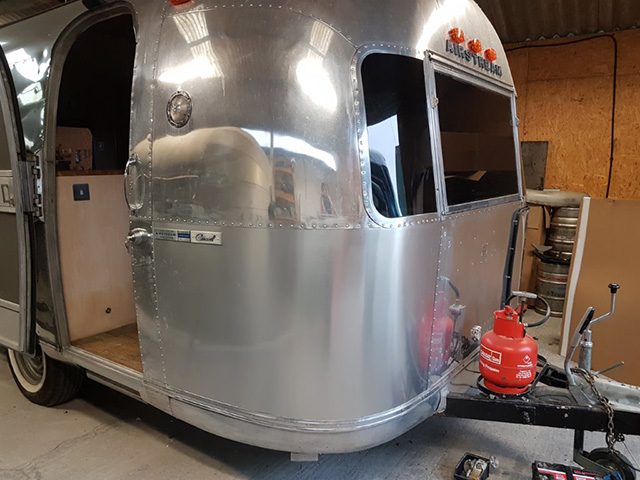 A repaired panel on an Airstream insurance job